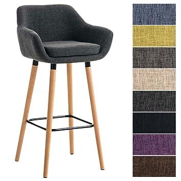 taille 40 84310 a179d CLP Tabouret de Bar Grant Tissu Design Scandinave I Tabouret de Bar  Industriel Dossier et Accoudoirs I Chaise de Bar Ergonomique Pieds en Bois  ...