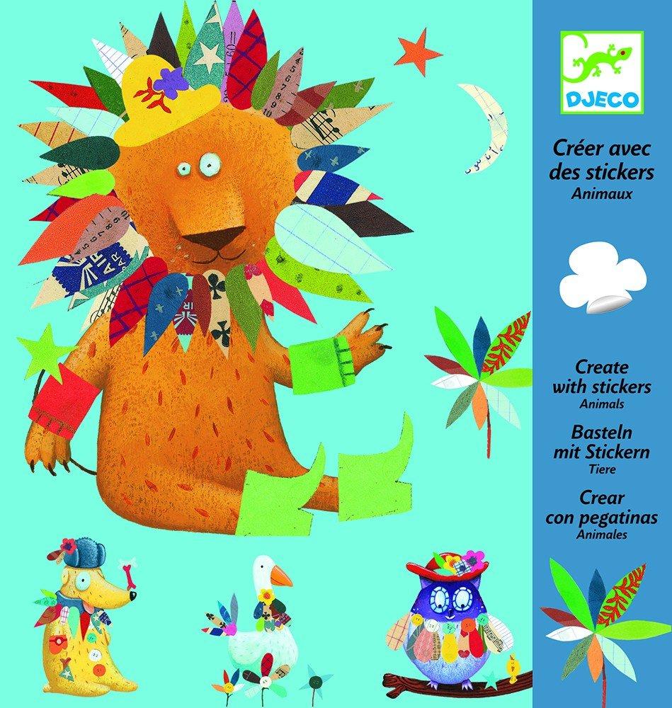 Djeco 8932 Kreativset Sticker mit Vorlagen Tiere DJ8932