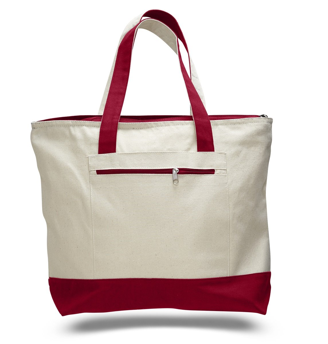 (Set of 1, Red) - Reusable Zipper Shopping Tote Bag Heavy Canvas Two Tone, Red, Set of 1 B01MR4FTGC レッド Set of 1