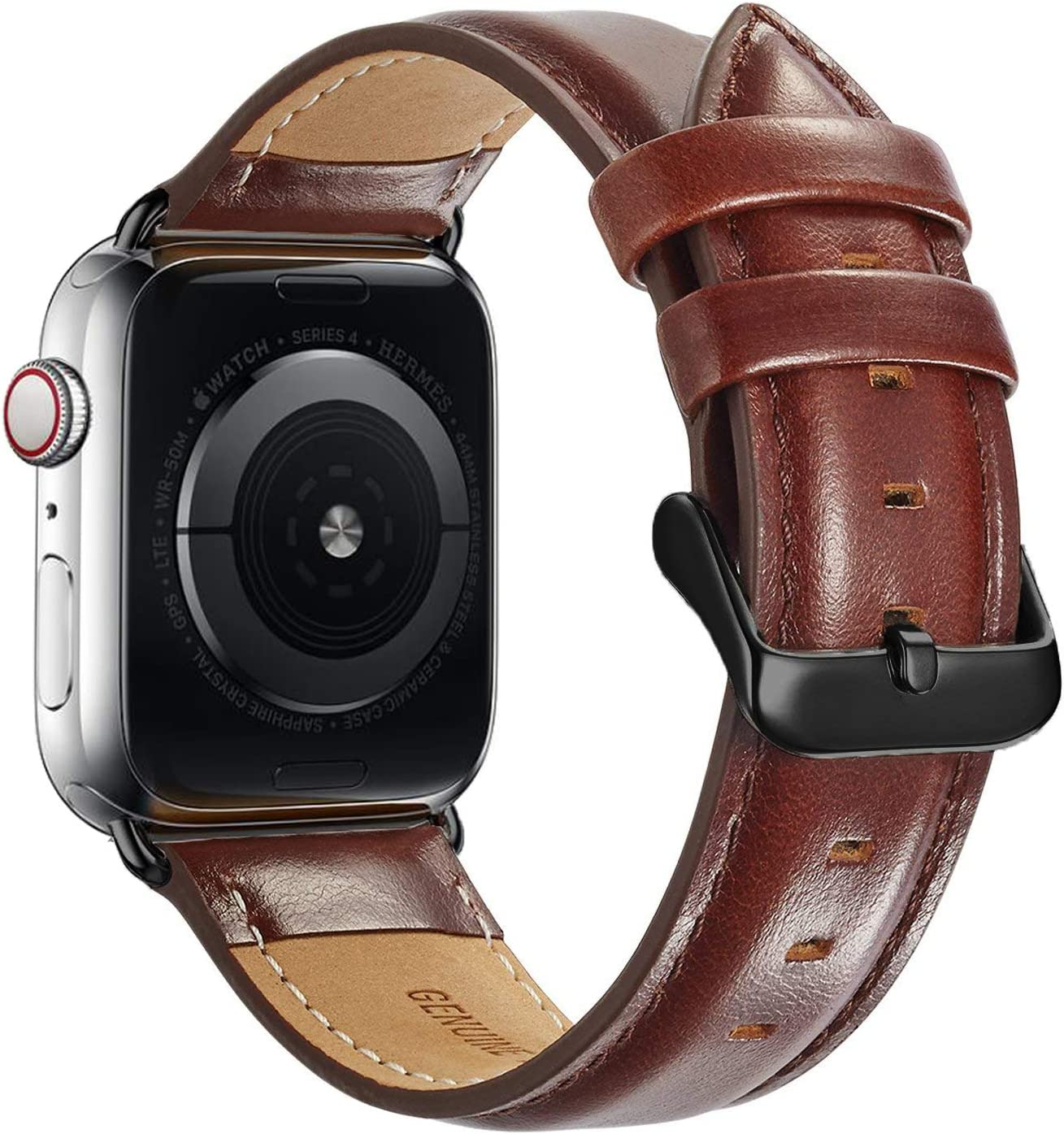 Compatible with Apple Watch Band 44mm 42mm for iWatch Bands Series 6 SE 5 4 3 2 1, MAPUCE Genuine Leather Band Replacement Strap Wristband for Men (Dark Brown)
