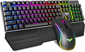 Havit Mechanical Keyboard and Mouse Combo RGB Gaming 104 Keys Blue Switches Wired USB Keyboards with Detachable Wrist Rest, Programmable Gaming Mouse for PC Gamer Computer Desktop (Black)