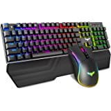 Havit Mechanical Keyboard and Mouse Combo RGB Gaming 104 Keys Blue Switches Wired USB Keyboards with Detachable Wrist Rest, P