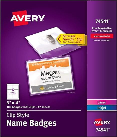 Amazon.com: Avery Gafete para nombres estilo clip, amigable ...