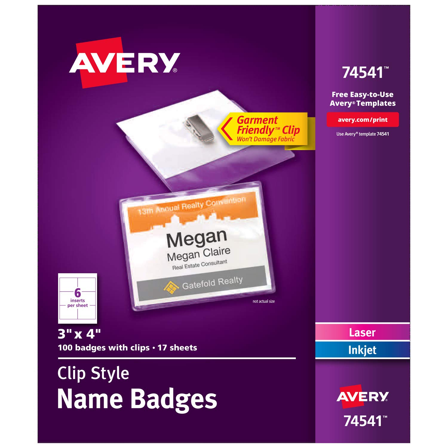 Avery Clip Name Badges, Print or Write, 3'' x 4'', 100 Inserts & Badge Holders with Clips (74541)