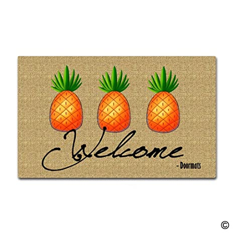 MsMr Custom Doormat Welcome Pineapple Decor Doormat Indoor/Outdoor Door Mat  18 Inch by 30 - Amazon.com : MsMr Custom Doormat Welcome Pineapple Decor Doormat