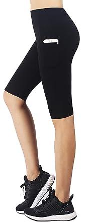 b777fac444296c Zinmore Women's Capri Yoga Shorts Exercise Workout Pants Running Cycling  Shorts Half Pants with Pockets Black