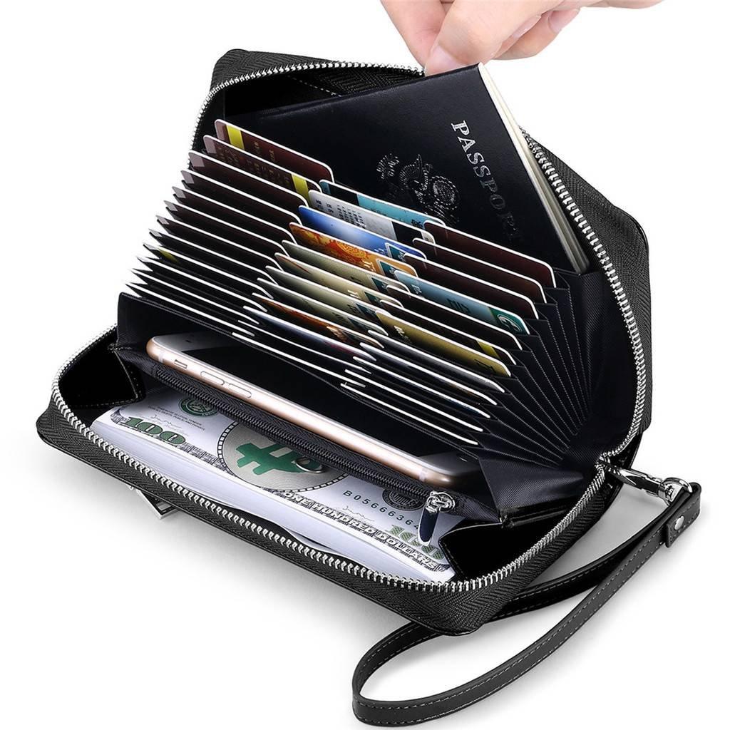 JEEBURYEE Womens Genuine Leather Credit Card Holder Wallet RFID Blocking Large Capacity Long Zip Around Clutch Purse with Wrist Strap Black