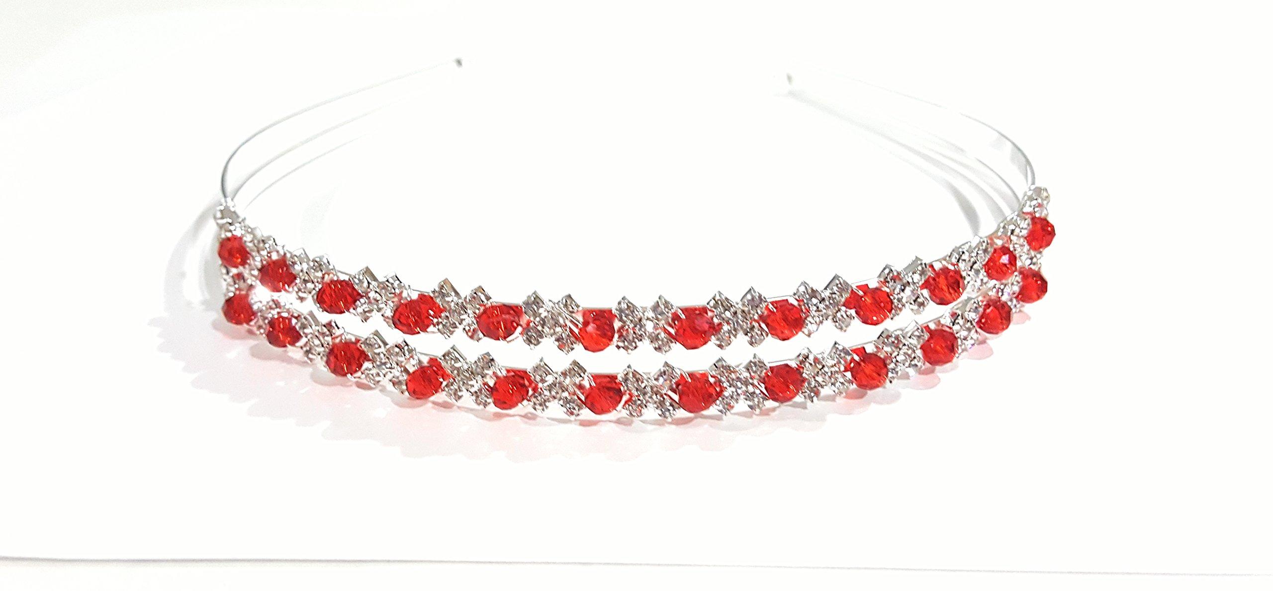 Shop Ginger Wedding Double Band Rhinestone Communion Tiara Headband Bridal Bridesmaid (Ruby Red, Silver Plated)