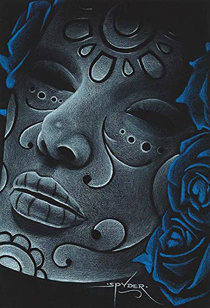 590146579 Image Unavailable. Image not available for. Color: Blue Death by Spyder  Myan Mexican Tribal Tattoo Artwork Framed Wall ...
