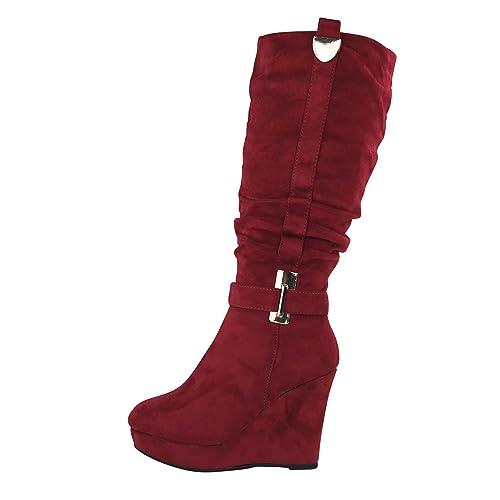 huge discount 6e85b 2066b Schuhtraum Damen Stiefel Keilabsatz leicht gefüttert High Heels Boots Wedge  Stiefeletten JA72