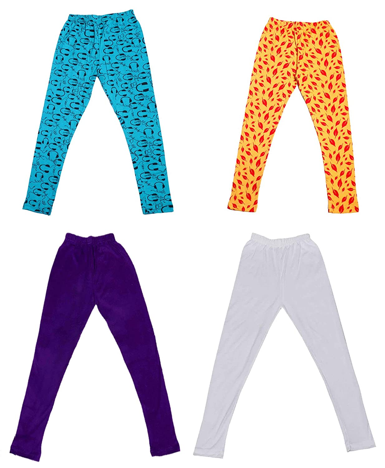 Pack Of 4 /_Multicolor/_Size-1-3 Years/_71402031718-IW-P4-22 Indistar Girls 2 Cotton Solid Legging Pants and 2 Cotton Printed Legging Pants