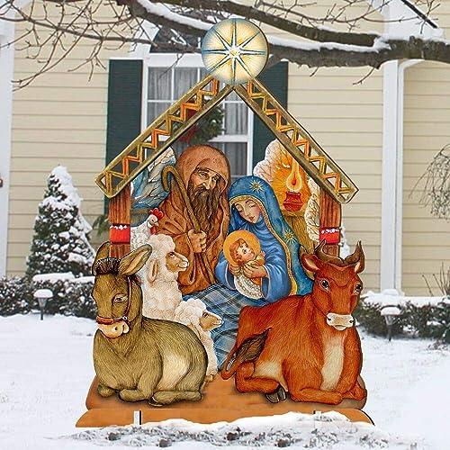 Christmas Nativity Set Outdoor.Amazon Com Outdoor Nativity Set Holly Family Christmas