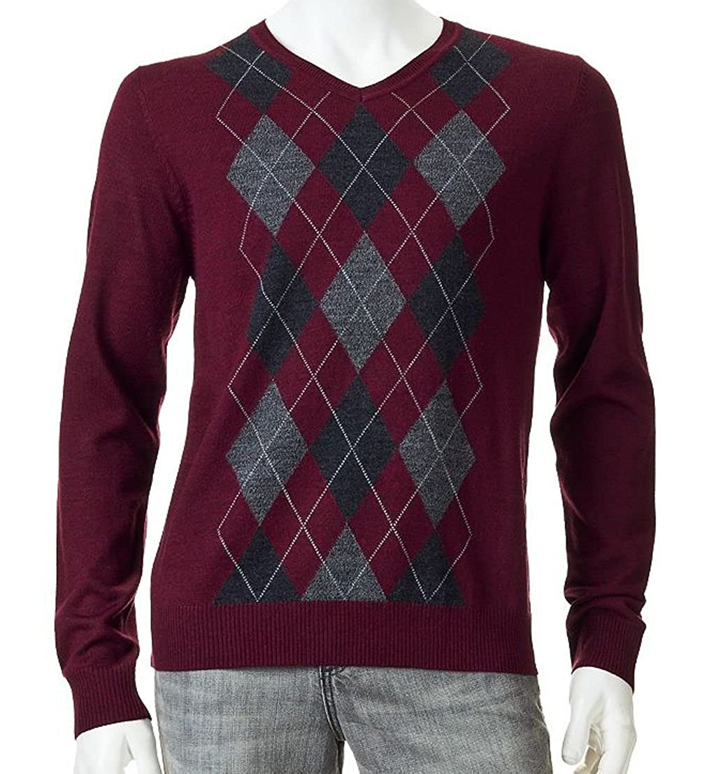 f46eca41a554 Liz Claiborne Apt 9 Mens Argyle Merino Wool Blend Sweater V-Neck Dark Brick  Red at Amazon Men s Clothing store