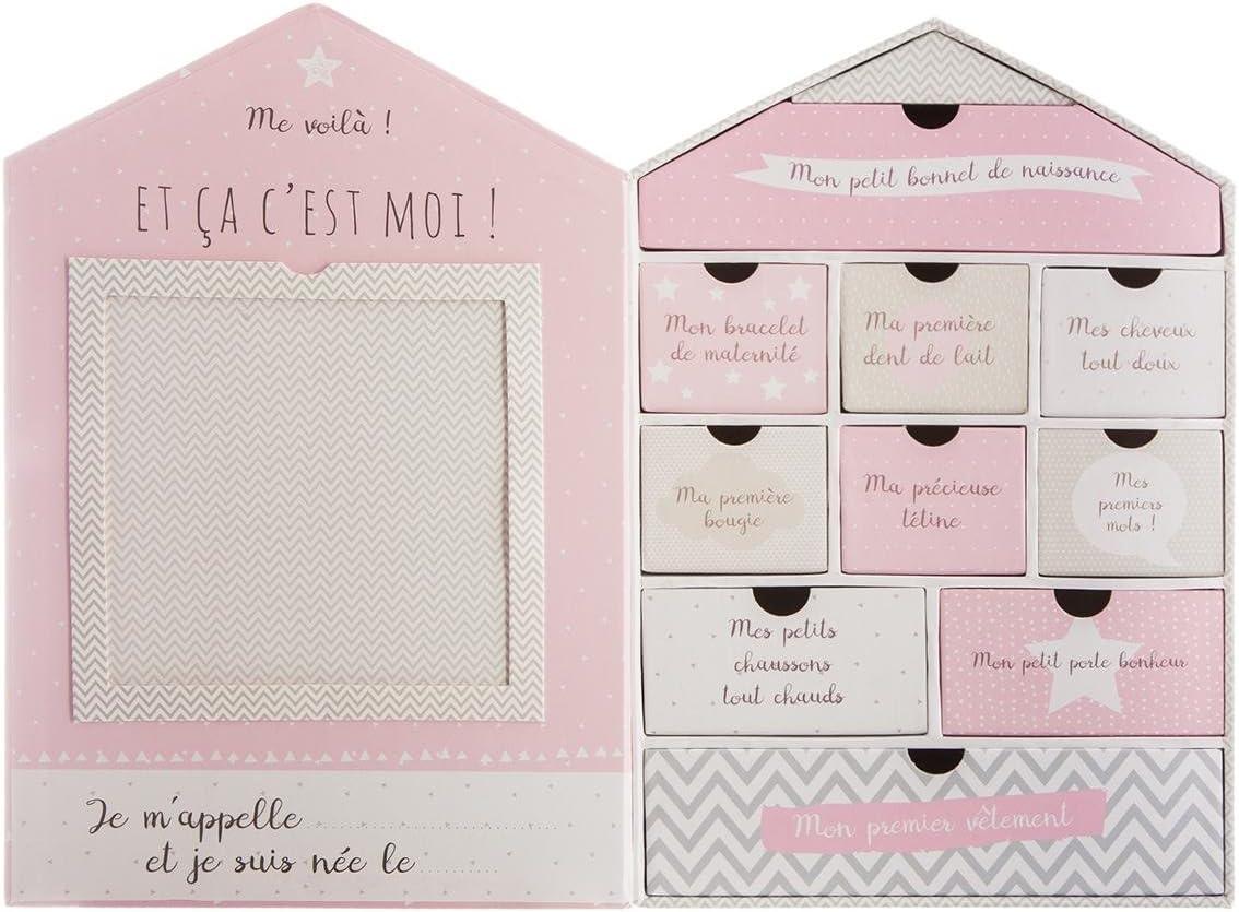 House design Newborn gift set with keepsake box photo frame Colour PINK