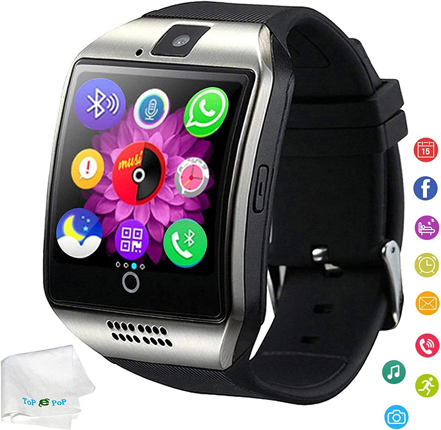 Bluetooth Smart Watch Touchscreen Wrist Watch Unlocked Watch Fitness Tracker Facebook Call Sync Remind Smartwatch with SIM Card Slot Compatible Ios ...