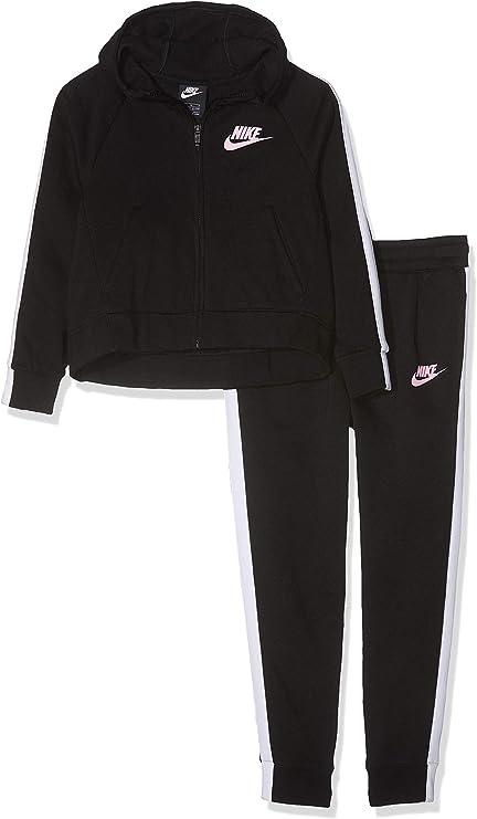 Nike G NSW TRK PE Chándal, Niñas, Negro (Black/White/Pink), S ...