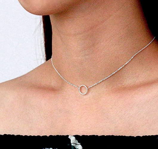 9423ab852f Open Circle Chain Choker, Sterling Silver Circle Choker, Thin Silver Choker,  Circle Choker, Minimalist Necklace, Layered Necklace, Karma Tiny Necklace,  ...