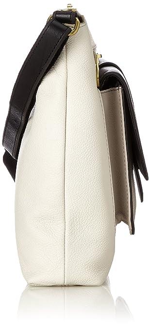 Damentasche? Kinley Crossbody, Womens Cross-Body Bag, White (White/black), 6.35x22.86x30.48 cm (B x H T) Fossil