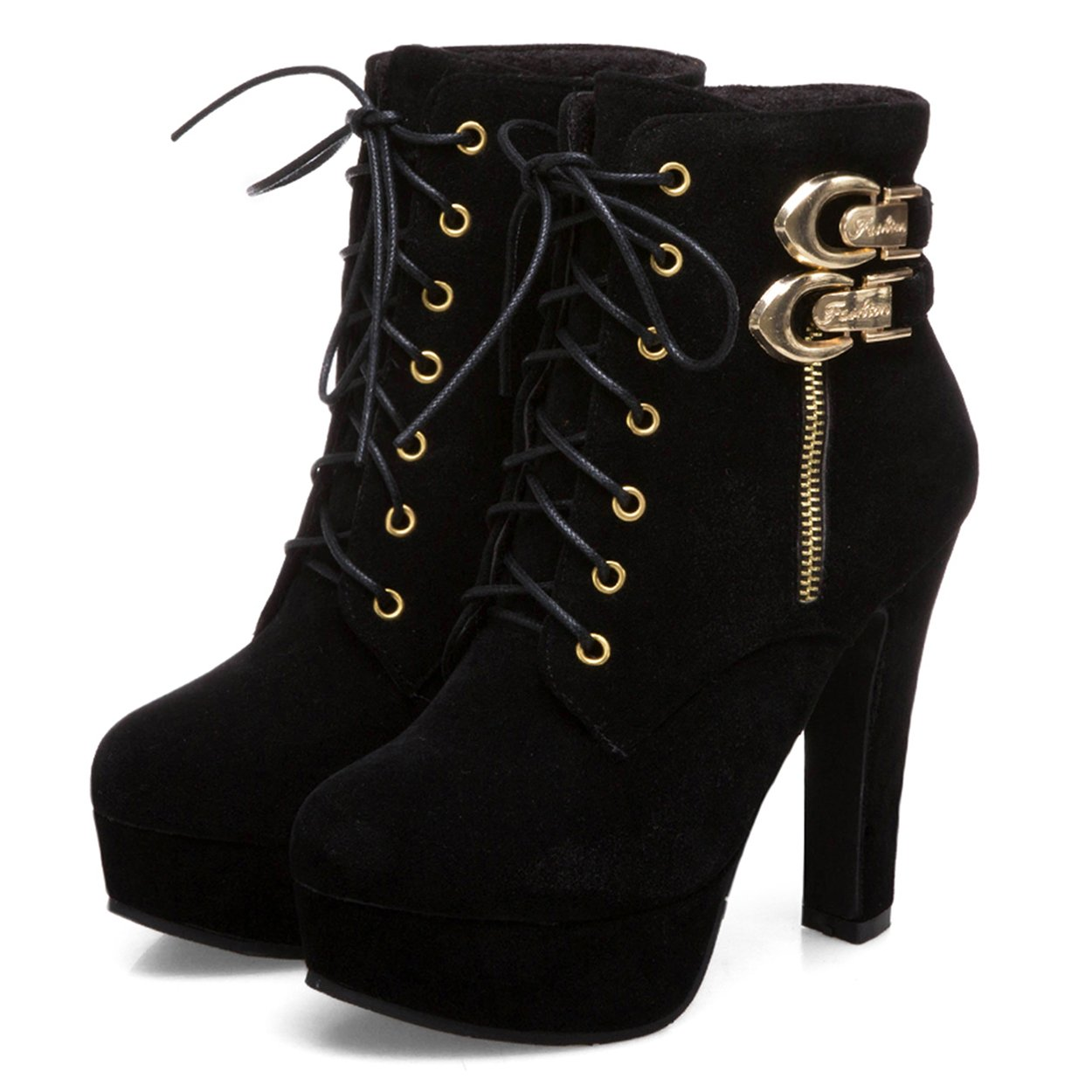 c996fc8be0fe5 Susanny Womens Sexy Martin Boots Platform Chunky High Heels Ankle Booties  Lace Up Zipper Autumn Winter Shoes
