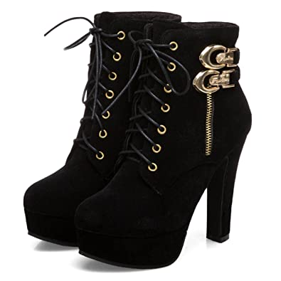 b377ccb62bf2 Susanny Womens Sexy Martin Boots Platform Chunky High Heels Ankle Booties  Lace Up Zipper Autumn Winter