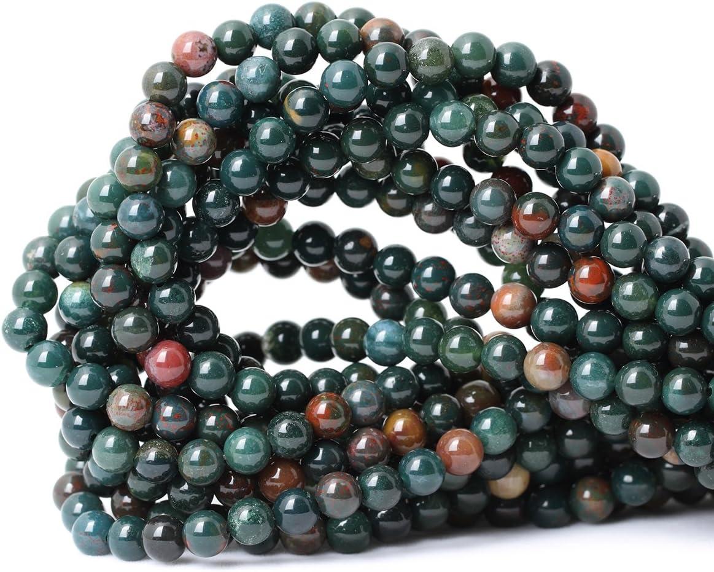Qiwan - Cuentas sueltas de piedras preciosas ojo de tigre de calidad A, cristal redondo, piedra de energía con poder de curación para hacer joyas