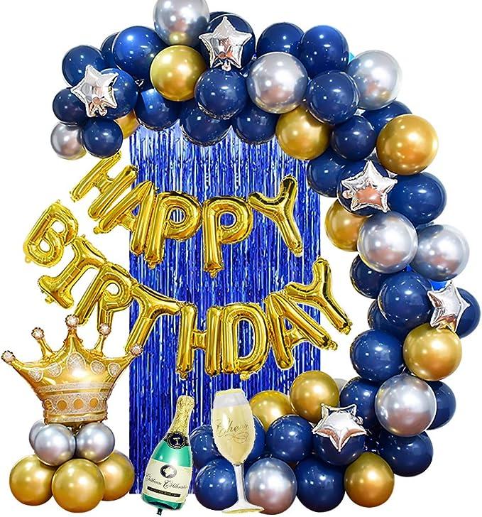 MMTX Fiesta cumpleaños Azul Plata y Oro Globos para adultos Hombres Amigos Mujeres,Birthday Bandera Globo Cortina seda lluvia para 18vo 20o 30o 40o 50o 60o 70mo Cumpleaños Decoraciones de Fiesta: Amazon.es: Juguetes