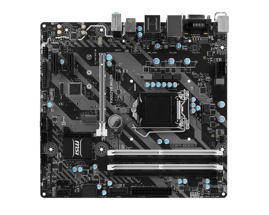 Image result for MSI H270M Bazooka VR Ready M-ATX Motherboard - Black (Intel Core i3/i5/i7 Processor, LGA 1151, Dual Channel DDR4, USB 3.1, PCI-E 3.0, PCI-E x1, Sata 6 GB)