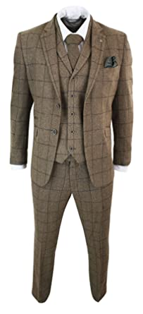 Cavani Costume Homme 3 pièces Tweed Marron Clair Chevrons Carreaux Coupe  ajustée Style Peaky Blinders 41aa2ab5030