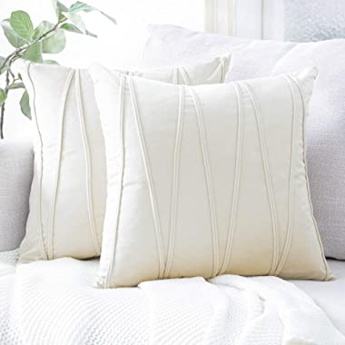 Top Finel Cream Decorative Throw Pillow Covers 18 x 18 Inch Soft Solid Velvet Cushion Covers for Couch Sofa Bed 45 x 45 cm, Pack of 2, Off White
