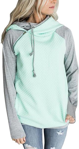 Damen Kapuzenpullover Rollkragen Pullover Sweatshirt Hoodie Pulli Sweatjacke Top