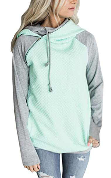 Auschecken 6090a 08885 ECOWISH Damen Kontrastfarbe Pulli Pullover Rollkragen Sweatshirt  Kapuzenpulli Top Hoodies
