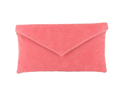 design de qualité e1f70 cf3f6 Sac À Main Pochette Enveloppe Faux Daim en rose corail ...