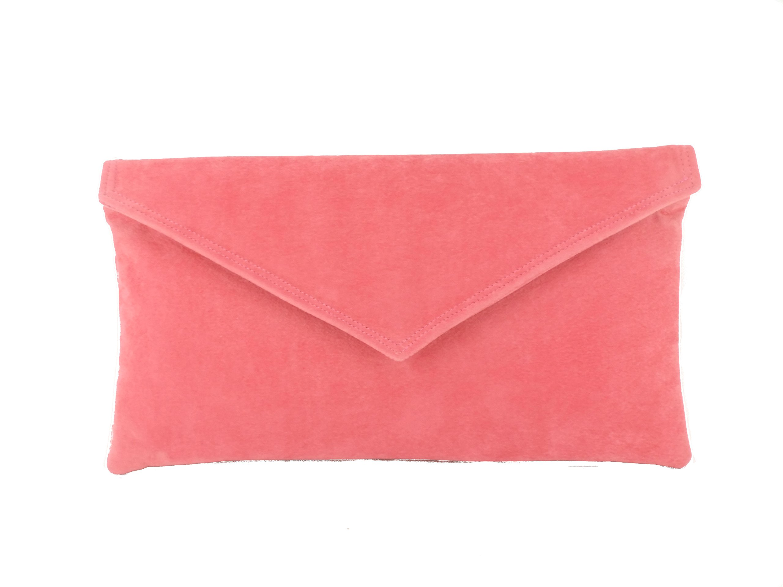 Loni Womens Neat Envelope Faux Suede Clutch Bag/Shoulder Bag in Coral Pink