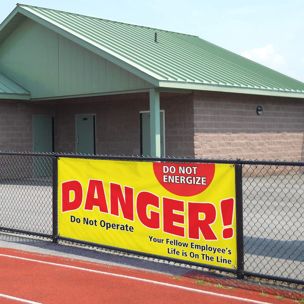 Vinyl Banner Sign Danger 32inx80in Multiple Sizes Available Locked Out Do Not Operate Outdoor Marketing Advertising Yellow 6 Grommets Set of 2