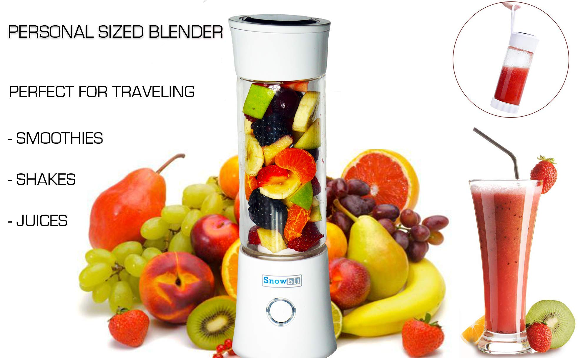 NEW Portable Smoothie Blender by Snowbli - USB Rechargeable Blender for Shakes and Smoothies - 480ml/16oz Smoothie Maker - Premium Quality Food Grade Materials - Borosilicate Glass - 2000mAh Battery/Veteran owned business by Snowbli