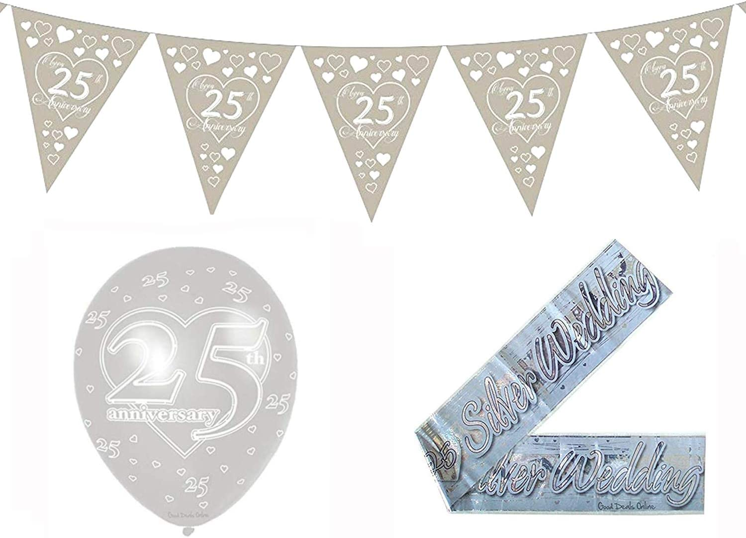 On Your Engagement Grey Hearts Bunting 15 flags  by Party Decor