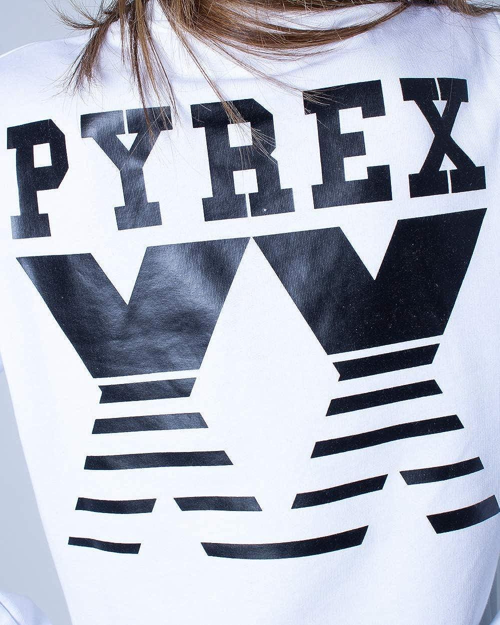 Pyrex Damen Sweatshirt Logo Piccolo 41088 Bianco