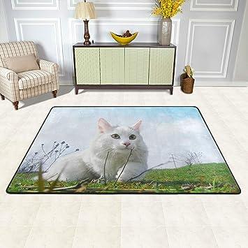 ISAOA Alfombra Lavable para Gatos de 3 x 2 pies Cazador Antideslizante Zona Alfombra Resistente Alfombra para baño Dormitorio Cocina Pasillo Mascota Entrada ...