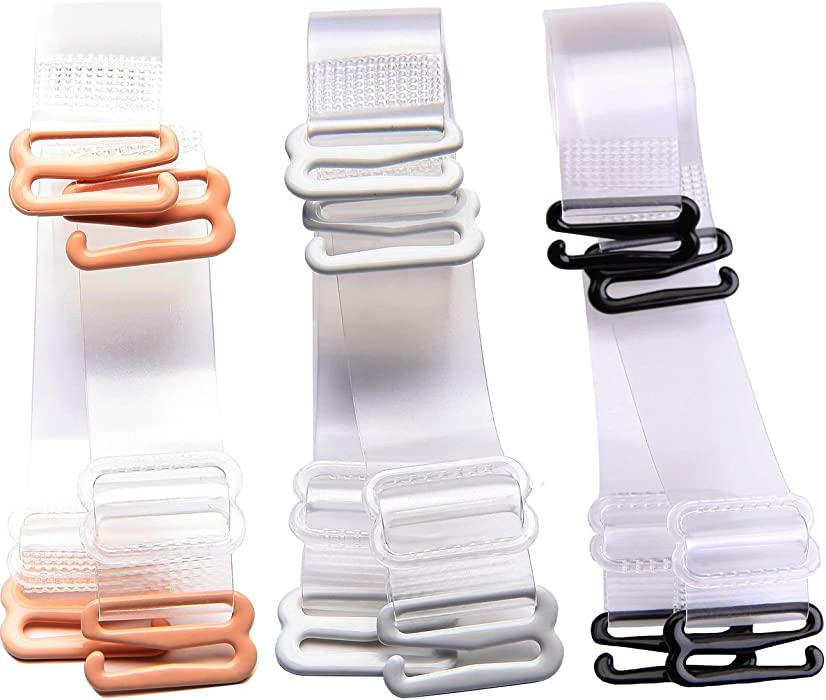 d2402b7ad0 Women 3 Pairs Bra Straps Invisible Transparent Clear Bra Straps Adjustable(Multi  Sizes). Back. Double-tap to zoom