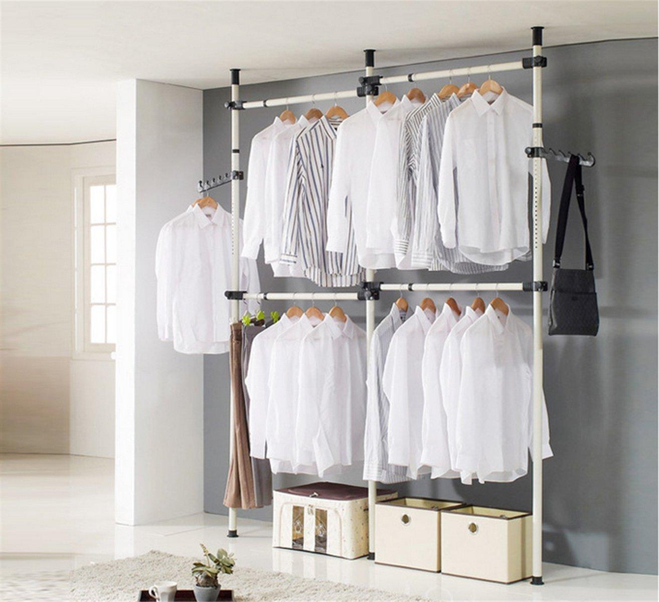 Estink Garment Rack,Portable Indoor Garment Hanger Tools Heavy-Duty Adjustable DIY Coat Hanger Clothes Wardrobe 3 Poles 4 Bars Home Hanging Rack