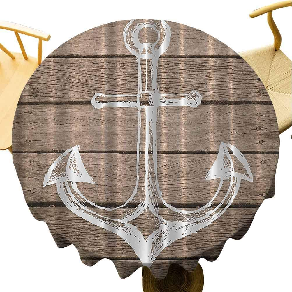 Zara Henry Anchor Nautical Kitchen Tablecloth Hand Drawing Boating Sketch Taupe Rustic Wooden Planks Coastal Home Buoy Kids Textile Machine Washable Outdoor Round Tablecloth 70Inch Round Brown White