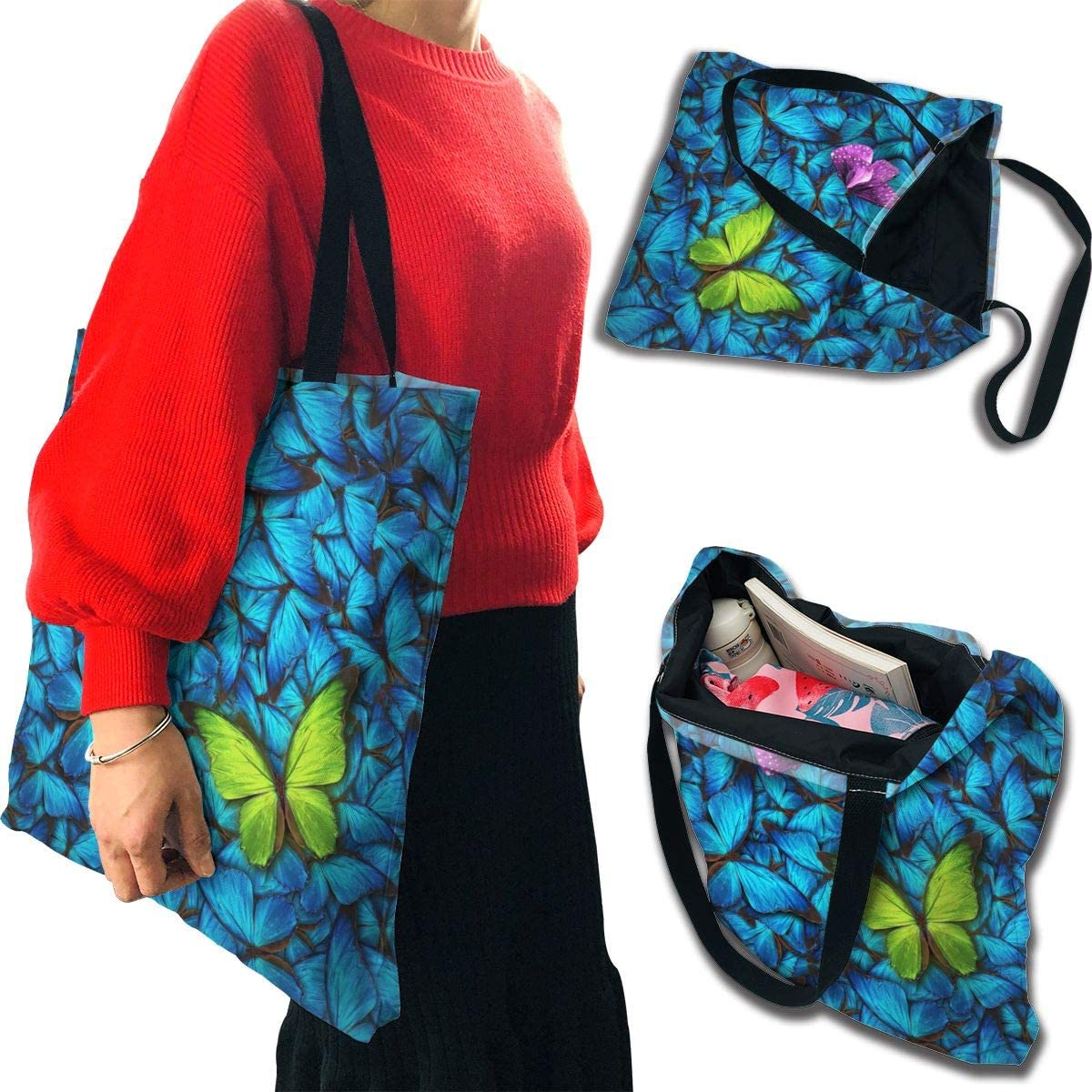 PengMin Green in Blue Butterflys Fashion Womens Multi-Pocket Vintage Canvas Handbags Miniature Shoulder Bags Totes Purses Shopping Bags