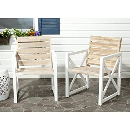 Super Safavieh Home Collection Irina Outdoor Arm Chair White And Oak Set Of 2 Gmtry Best Dining Table And Chair Ideas Images Gmtryco