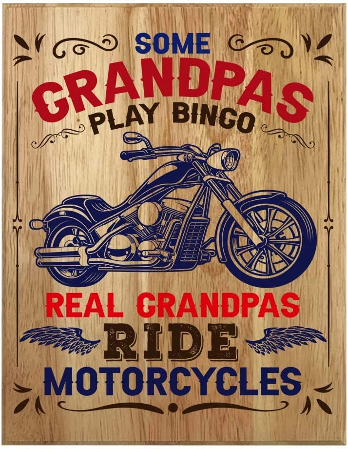QUMO Motorcycle Gifts for Grandpa | PAPA | Grandfather | Bike | Plaque Christmas | Wooden Sign | Wall Art