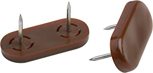 Metafranc Furniture Glides 45 x 20 mm - Plastic - with Nail - Brown - 4 Pieces - Twist-Proof - Suitable for Outdoor use/Furniture Glides Set for Insensitive Floors/Plastic Gliders / 644706