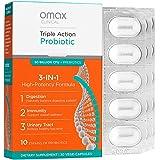 Omax Synbiotic Probiotic Prebiotic Inulin Chicory Root Fiber | 50 Billion CFU +10 Strains | Vegan, Therapeutic Grade, Dairy-F