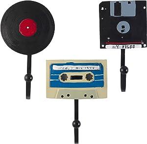 Decorative Vintage Disks – Floppy Disk, Vinyl Record and Stereo Cassette Resin Wall Coat Hooks (Set of 3)