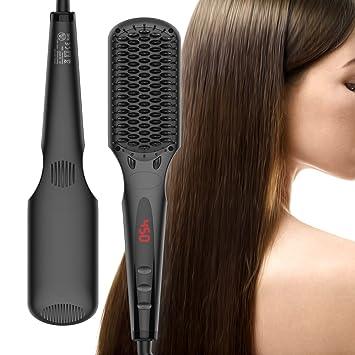 cepillo alisador de pelo, iFanze cepillo alisador de pelo ionico, cepillo alisador electrico, Pantalla LCD, Temperatura Ajustable, Plancha de cerámica ...