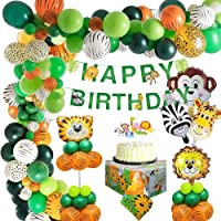 MMTX Animal Birthday Party Decoration Kids, Jungle Safari Happy Birthday Decoration Banner with Palm Leaves Latex…