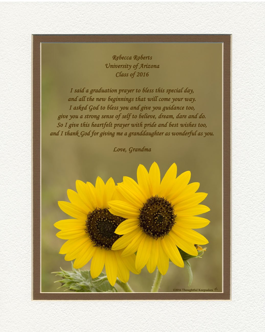 Personalized Granddaughter Graduation Gift with ''Granddaughter Graduation Prayer Poem'' Sunflowers Photo, 8x10 Double Matted. Special Keepsake Graduation Gifts for Granddaughter